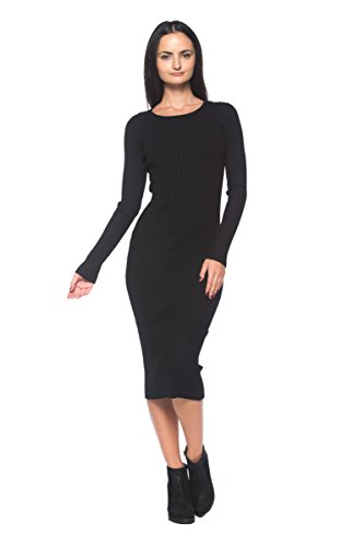 Women's Black Ribbed Knit Slim-Fit Stretch Scoop Neck Bodycon Midi Sweater Dress (Medium) (Dress Neck Scoop Knit Sweater)