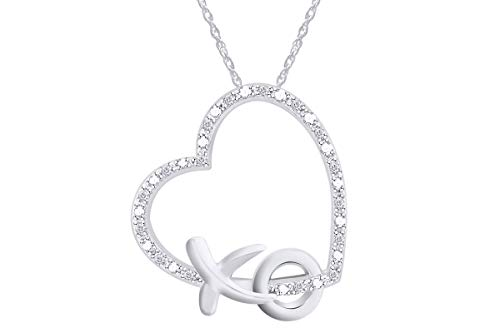 Aria Jewels Diamond Accent XO Heart Pendant Necklace in 14k White Gold Plated Sterling Silver w/ 18