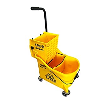 Image of Hero EZ-Lift Dual Cavity Commercial Mop Bucket with Wringer on Wheels, Includes Dirty Water Bucket (36-Quart | 9 Gallon Cleaning Bucket) Health and Household