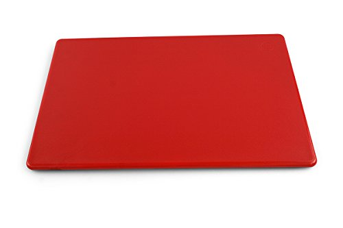 Commercial Plastic Cutting Board, NSF, 18 x 12 x 0.5 Inches, Red
