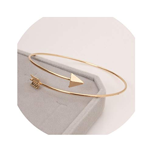 two- Punk Open Adjustable Arrow Cuff Bracelets for Women Fashion Simple Gothic Wrist Feather Bangles Gift Jewelry,LA152 Gold