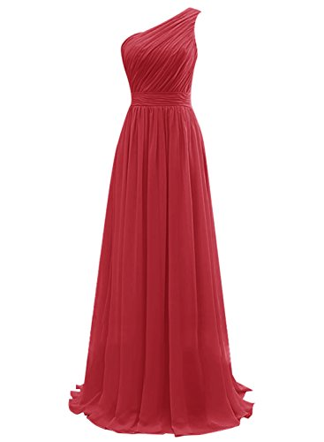 Vinvv One Shoulder Long Pleats Waist Bridesmaid Prom Dresses Darkred Size 6 (After Six Stretch Bridesmaid Dress)