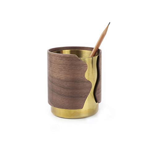DEI QI Exquisite Pen Holder Decoration, Creative Multi-Function Storage, Business Gifts, North American Black Walnut + electroplated Copper, Solid Wood Multi-Layer Glue Bending, 3.5inch4.3inch