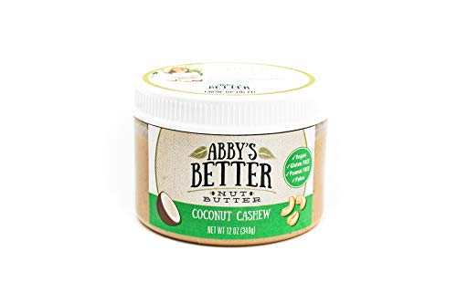 Cashew No Salt Butter - Coconut Cashew Nut Butter, 12 Ounce Jar- An All Natural, 4 Ingredient, Gluten-Free, Peanut Free, Protein Rich, Vegan Friendly Spread or Snack by Abby's Better