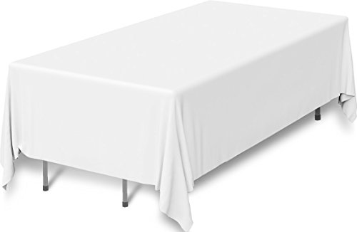 90 x 132-Inch - White Tablecloth - 100 present Polyester Rectangular Table Cover - By Utopia Kitchen