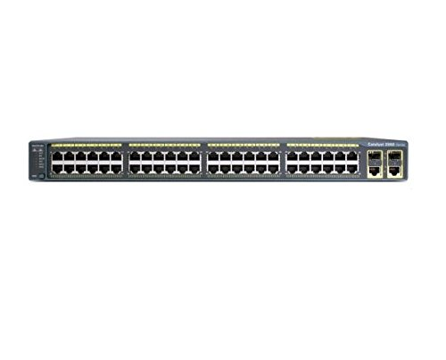 (Renewed) Cisco WS-C2960-48PST-L Catalyst 2960 48-Port 10/100Mb 1000BT POE Switch, Lan Base Image