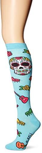 K. Bell Women's Original Series Novelty Knee High Socks, Day of the Dead (Teal), Shoe Size: 4-10 -