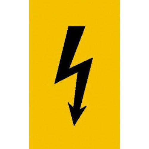 5,20x10,50cm Warnschild Spannungszeichen schwarzer Blitz Folie selbstkl
