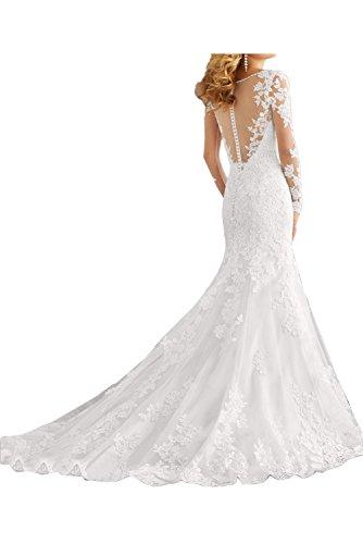 Aermeln Hochzeitskleider Damen mit Traumhaft Ivydressing Meerjungfrau Weiß Brautkleid Spitze Abendkleider Lang YdqPzHw
