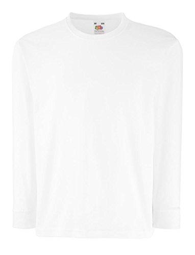 Fruit Of The Loom Kinder T-Shirt, langarm 134,Weiß - Weiß