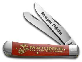 (Case Cutlery CA13174 USMC Trapper Gift Set 6254SS Pattern Hunting Knives)
