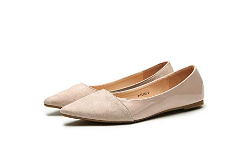 Mila Lady Flora Stylish Patent Leather Pointed Toe Comfort Slip On Ballet Dressy Flats Shoes for Women,Nude 8.5