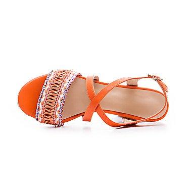 LvYuan Mujer Sandalias Gladiador TPU Verano Casual Vestido Fiesta y Noche Gladiador Hebilla Tacón Robusto Naranja Amarillo Azul 10 - 12 cms Orange