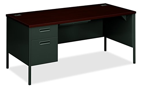 - HON Metro Classic Laminate  Office Desk - Left Pedestal Desk with File Drawer, 66