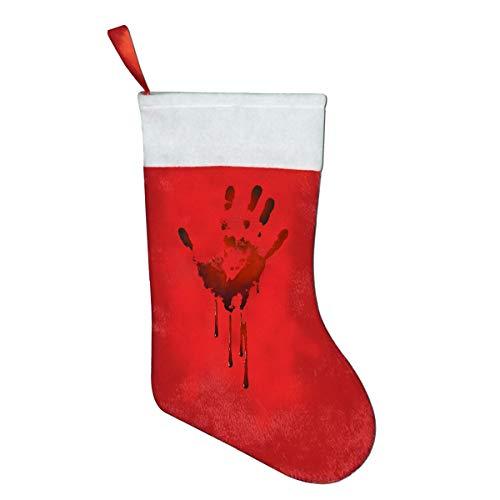 YyTiin Bloody Handprint Classic Red & White Plush Mercerized Velvet Christmas Stockings Gift/Treat Bags]()