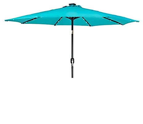Trademark Innovations Deluxe Solar Powered LED Lighted Patio Umbrella   9u0027    (Peacock Blue