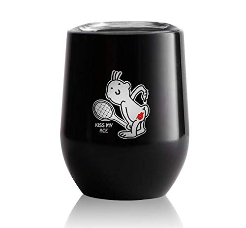 Tennis Addiction Kiss My Ace Stainless Steel Wine Glass With Lid Funny Cute Tennis Gift Captains Gift