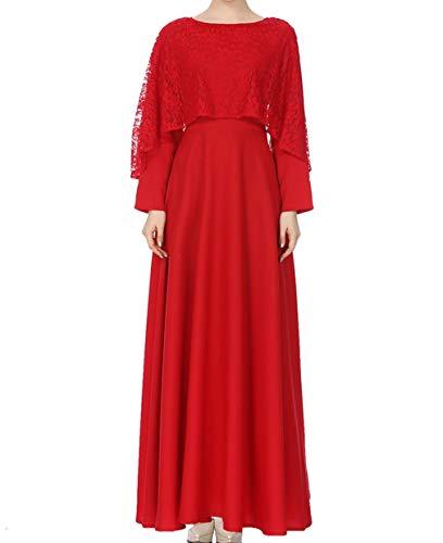 senza Zhxinashu Gonna Vestiti Accappatoio Abiti Indumento Lunghi Rosso Unita Maxi Tinta Velo Pizzo senza Da Abbigliamento Donna Musulmano Arabo wZBrw