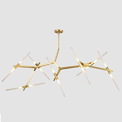 Industrial Chandelier Modern Metal Acrylic Branch Pendant Lamp Light LED Ceiling Fixtures for Living Room Dining Room Lighting (Gold, 14-Light)