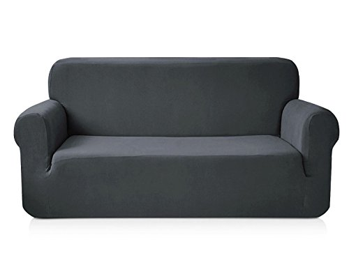 - CHUN YI 1-Piece Knit Spandex Fabric Sofa Slipcover (Sofa, Grey)