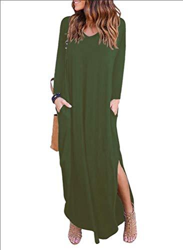 Noche Casual Elegantes Falda Fiesta Vestidos Grandes Verde Vestido Xinwcang Largos Playa de Manga Mujer Tallas Larga de qZvHPB