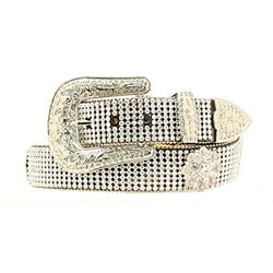 Nocona Women's Croc Crystal Mesh Belt, Black, ()