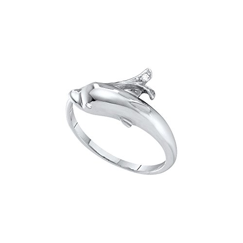 Gold Ring Dolphin White (Jewels By Lux 10kt White Gold Womens Round Diamond Dolphin Fish Animal Wrap Ring .03 Cttw Ring Size 11)