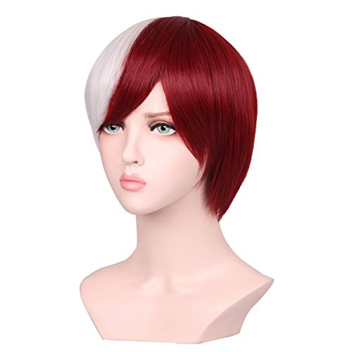Colorground Half Silver White Half Red Cosplay Wig For Import It All