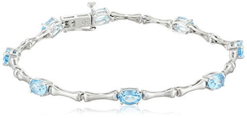 Sterling Silver Genuine Blue Topaz Bamboo Link Bracelet, 7.5