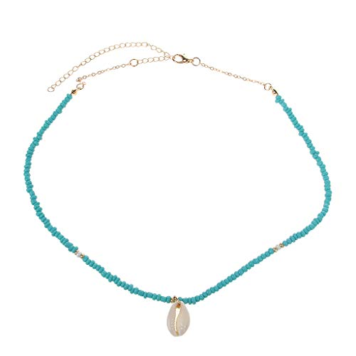 ZHENXI Bohemian Sea Necklace with Turquoise Beads and Shell Pendant Friendship Jewelry ()