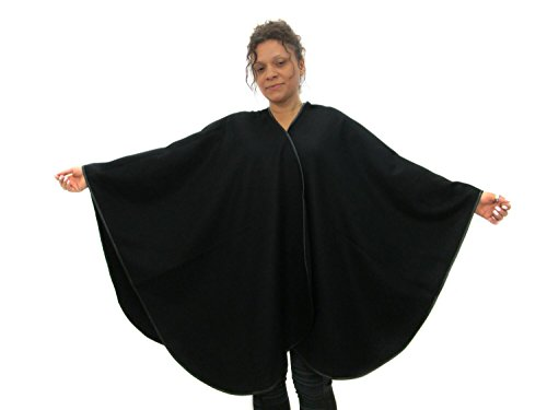 Large 100% Cashmere Black Cape w/Pu Leather Trim by FursNewYork