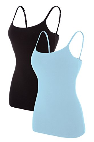 belamo Cotton Camisoles for Womens Stretchy Spaghetti Tank Tops Camis 2 Packs