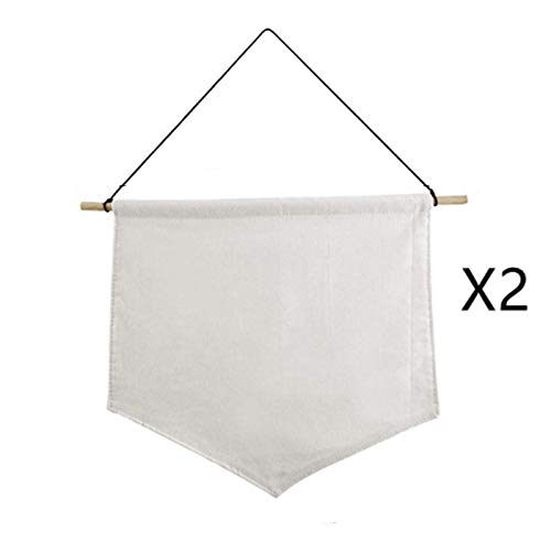 Natural Beige ODDIER 2pcs DIY Blank Canvas Banner Flags Wall Display Banners Enamel Pin Banners Collection Lapel Badge Storage Canvas Wall Hanging with Rod