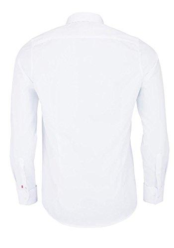 PURE Slim Fit Hemd Langarm Haifisch Kragen Umschlagmanschette weiß