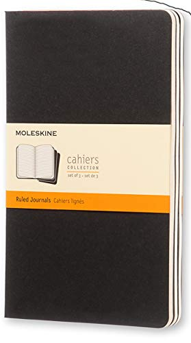 """Moleskine Cahier Journal, Soft Cover, Large (5"""" x 8.25"""") Ruled/Lined, Black (Set of 3)"""