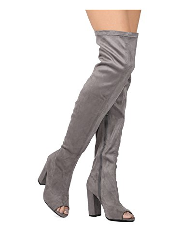 Alrisco Women Faux Suede Over The Knee Peep Toe Block Heel Boot HF42 - Grey Faux Suede (Size: 7.0)