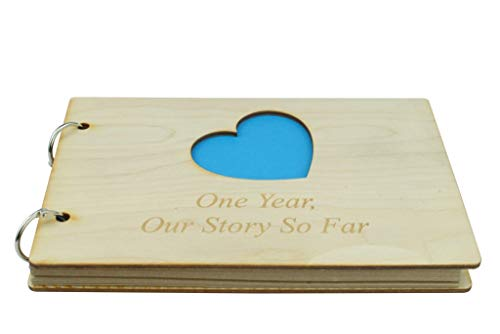 1 Year Anniversary Wooden Scrapbook - Perfect for Your Husband or Boyfriend
