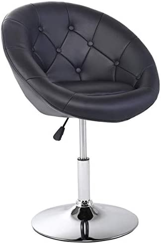 Casart Swivel Accent Chair Tufted Round-Back Tilt Chrome Contemporary Round Black