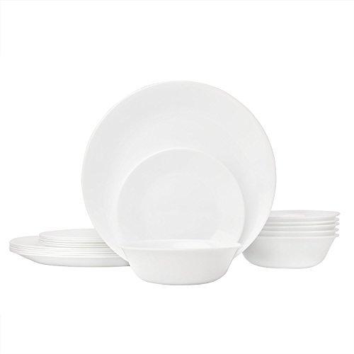 Corelle Livingware Piece Dinnerware Set, Winter Frost White , Service for 8 (24-Piece Set) by Corelle