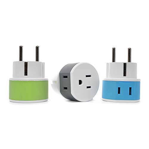 OREI Germany, France, Schuko Travel Plug Adapter - 2 USA Inputs - 3 Pack- Type E/F (US-9) - Does Not Convert Voltage
