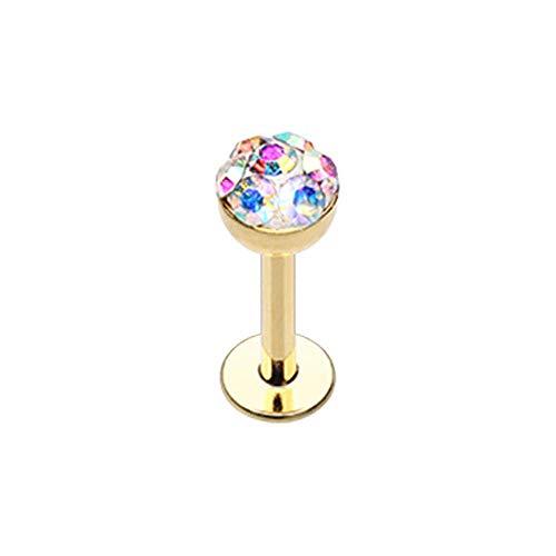 Covet Jewelry Golden Multi Color Sprinkle Dot Multi Gem Dome Steel Labret