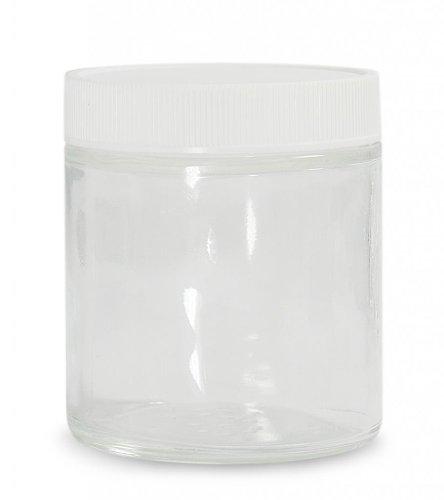 Qorpak GLC-06614 Glass Straight Sided Jar with 58-400 White Polypropylene SturdeeSeal Polyethylene Foam Lined Cap, Round, Clear, 4oz Capacity, 60mm OD x 69mm Height (Case of (Polyethylene Lined Cap)
