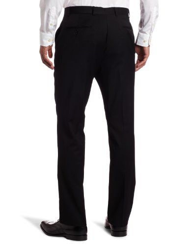 Tommy Hilfiger Mens Flat Front Trim Fit 100% Wool Suit Separate Pant, Black Solid, 38W x 30L