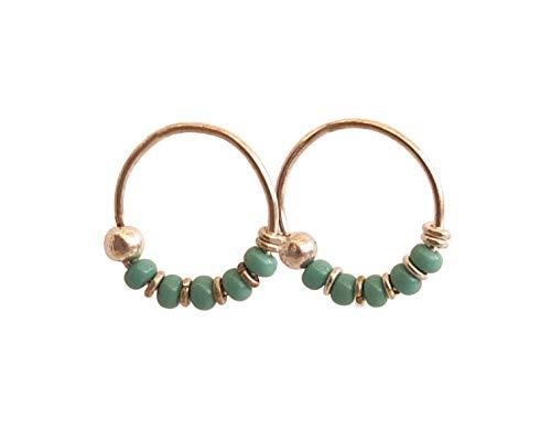 Pair of 10mm Sterling Silver Hoop Earrings, Turquoise Beaded Hoops, Handmade Hoops