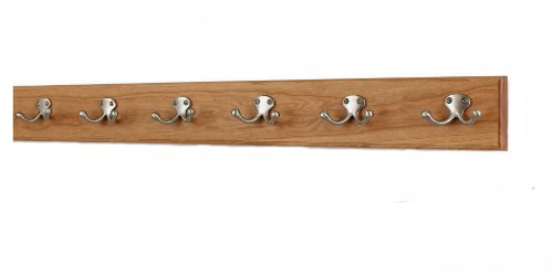 Mounted Coat Chr Wall - Solid Cherry Wall Mounted Coat Rack with Satin Nickel Double Style Coat Hooks - Made in the USA (Cherry, 30.5