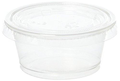 TashiBox 2 oz disposable portion cups with lids, set of 200 - jello shot cups, souffle cups, sampling cups, sauce (Portion Cups With Lids)