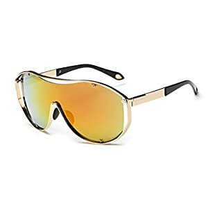 Konalla Oversized Fashion Metal Full Frame One-piece Flash Lenses Sunglasses C2