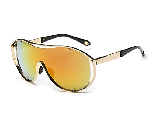 Konalla Oversized Fashion Metal Full Frame One-piece Flash Lenses Sunglasses - 1940s Sunglasses Style