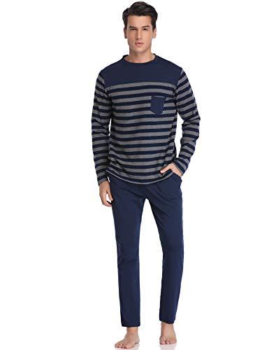 Hawiton Men's Long Sleeve Pajama Pants Set Cotton Sleep Top & Bottoms Sleepwear -