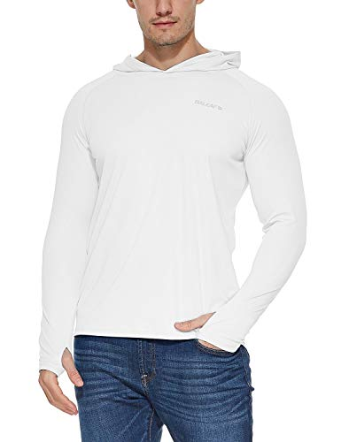 BALEAF Men's UPF 50+ Sun Protection Basic Long Sleeve Performance Hoodie T-Shirt White Size M